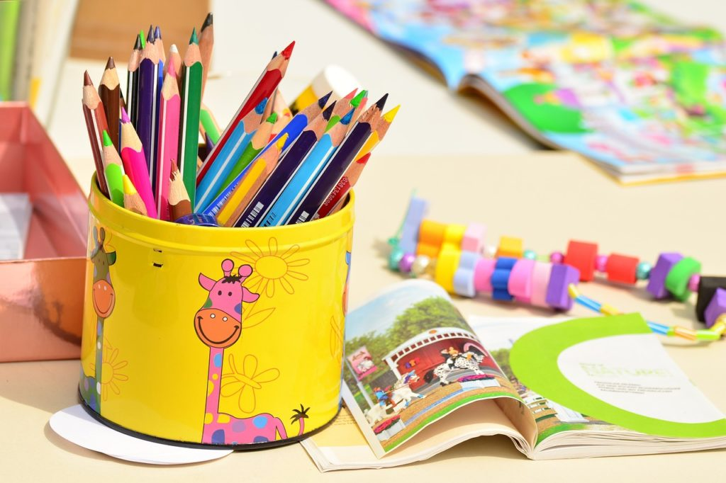 coloured pencils and kids toys