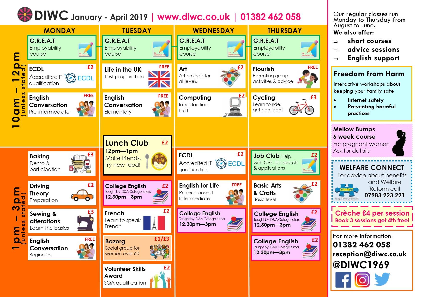 DIWC Timetable - Dundee International Women's Centre